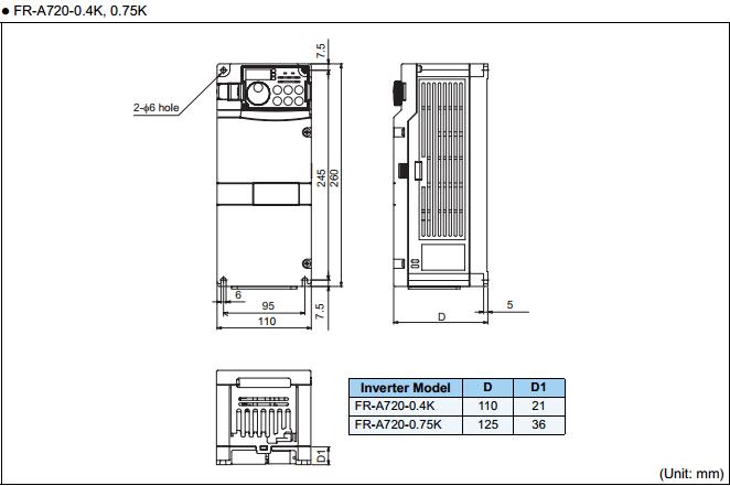Biến tần Mitsubishi FR-A720-0.75K